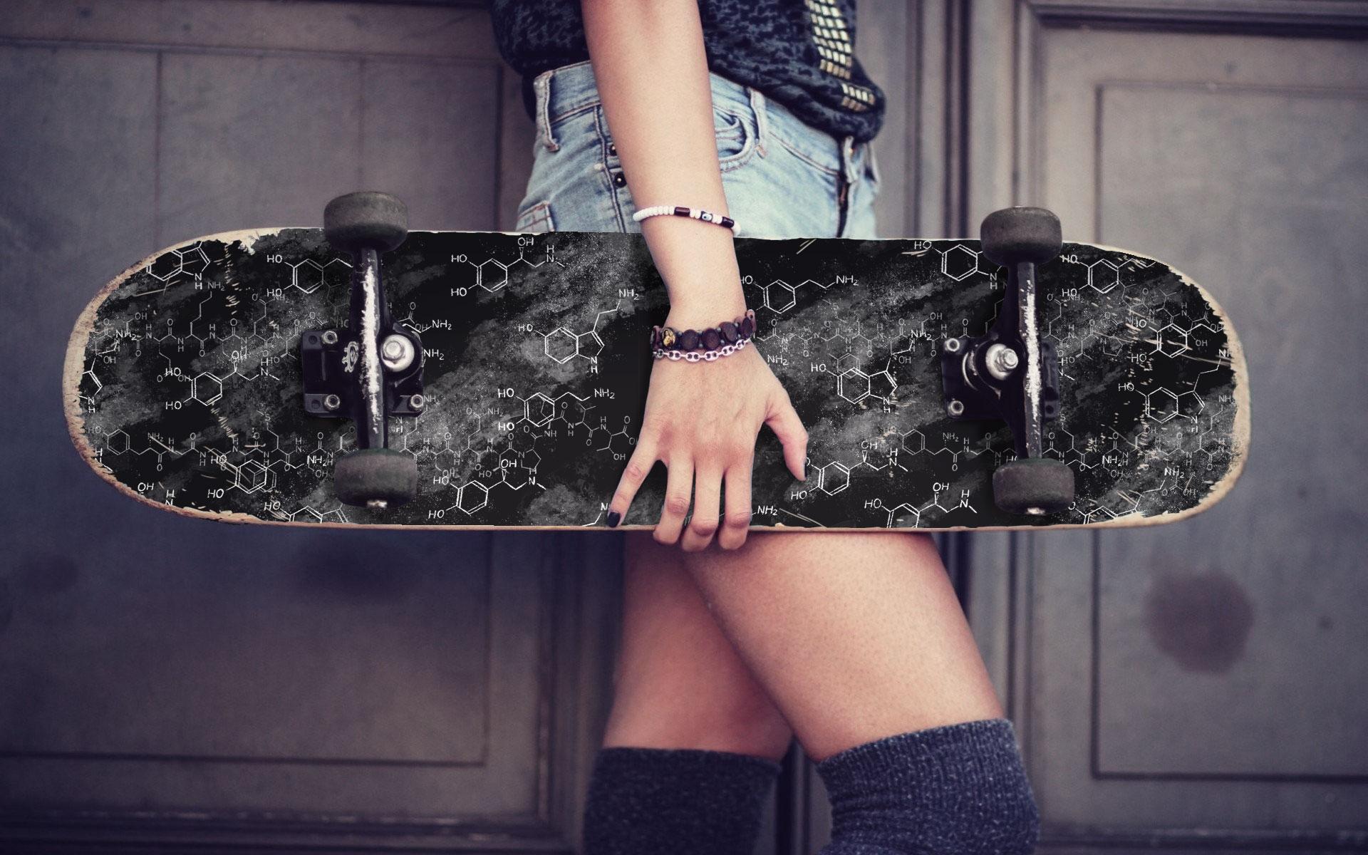 dopamine, serotonin, adrenaline, endorphins on a skateboard